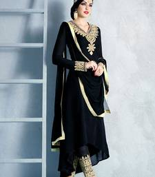 Buy Black georgette embroidered semi stitched salwar with dupatta party-wear-salwar-kameez online