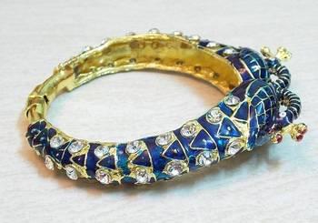 Peacock design blue meenakari zircon stud kada bangle