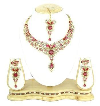Dealtz Fashion fuchsia pink meenakari necklace set