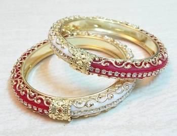 Traditional half and half red white cz stud bangle