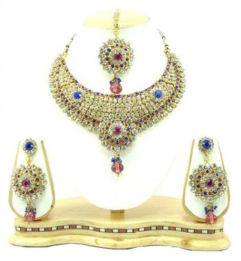 Dealtz Fashion Pink blue necklace set