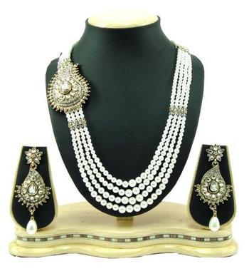 Dealtz Fashion 4 line paisley pearl necklace set