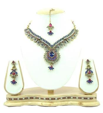 Dealtz Fashion blue pink cz necklace set