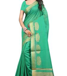 Buy green woven cotton saree with blouse chanderi-saree online