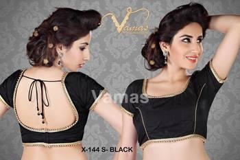 Silk Matka-neck readymade Saree Blouse. X144s Black.