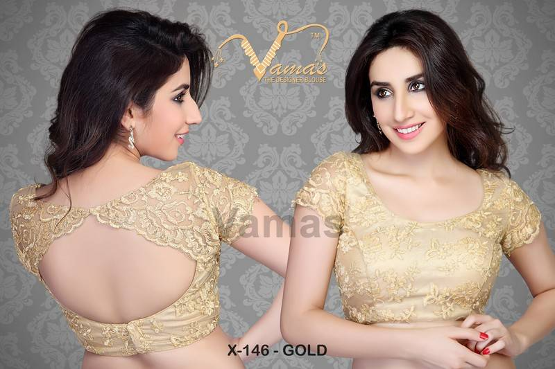 72234542ee Scalloped effect Readymade Saree Blouse. X146 Gold - muhenera s - 177666