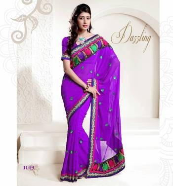 DESIGNER CHIFFON PURPLE SAREE WITH CHIFFON BLOUSE- BFD1019EN