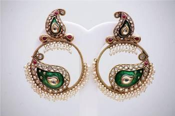Meenakari with Pearl Earrings