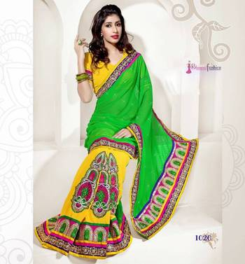 EXCLUSIVE DESIGNER MARVAL BUTTA + GEORGETTE GREEN SAREE WITH MARVAL BUTTA + GEORGETTE BLOUSE- BFD1020EN