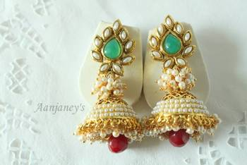 Aashiqui 2 earrings jhumkas pearl ethnic traditional indian handmade