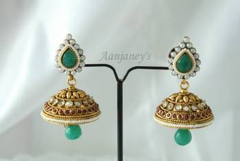 Designer Earrings Jhumkas Indian Traditional Trendy Ethnic Handmade Pearl Stone