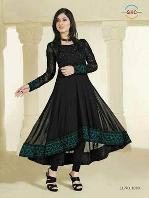 Black Colour Faux Georgette Anarkali Salwar Kameez By Fabfiza