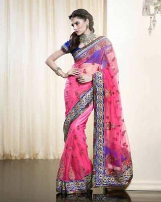Net Saree With Heavy Thread Zari