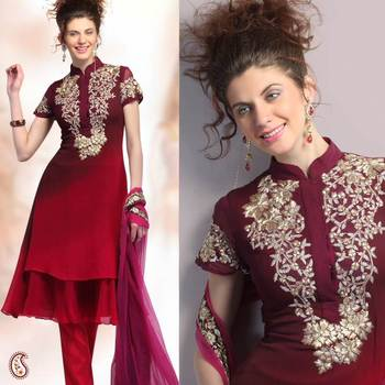 Shaded Maroon Embroidered Churidar Set