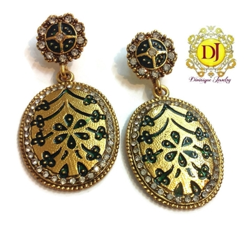 Antique meena and ad oval earrings