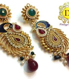 Buy Eye stopper peacock earrings maroon n green danglers-drop online