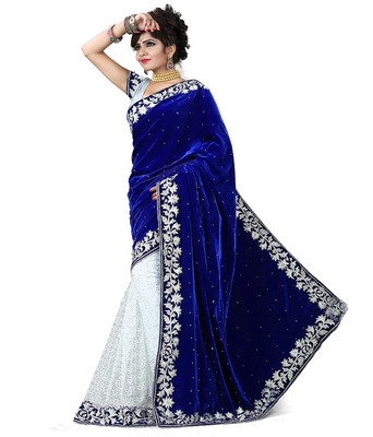 Navy blue embroidered velvet saree With Blouse