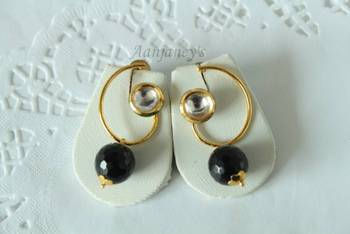 Designer Hoops Earrings Jhumkas Indian Traditional Trendy Ethnic Kundan Stone Handmade