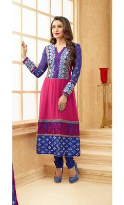 Blue and magenta karishma kapoor embroidered designer anarkali suit