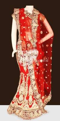 Shiny red net full heavy work done bridal lehenga