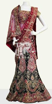 Dark blue velvet full design heavy work wedding lehenga