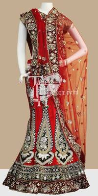 Royal red beautiful heavy work bridal lehenga