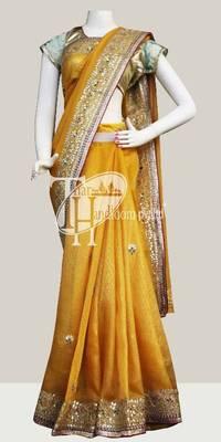 Shining light yellow designer banarasi border work saree