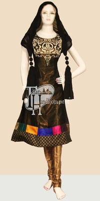Beautiful black chiffon designer work replica