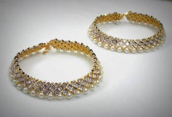 Bridal Silver Payjeb - Diamond Polki Look