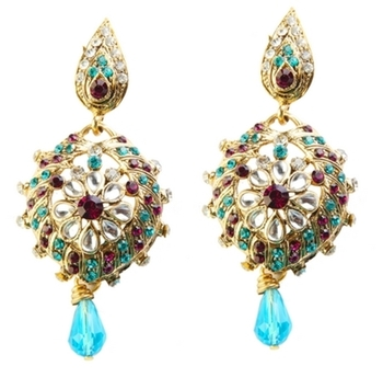 Dealtz Fashion Blue Drop Floral Earrings