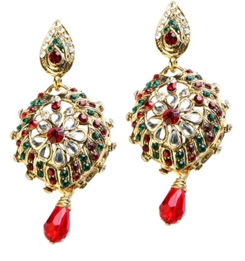 Dealtz Fashion Red & Green Shine Floral Earrings