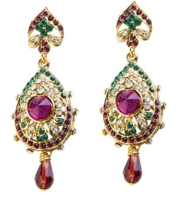 Dealtz Fashion Purple & Green Teardrop Design Earrings
