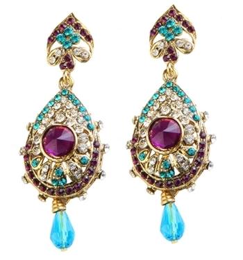 Dealtz Fashion Purple & Blue Teardrop Design Earrings
