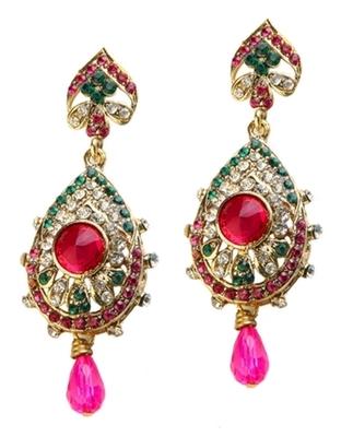 Dealtz Fashion Pink & Green Teardrop Design Earrings