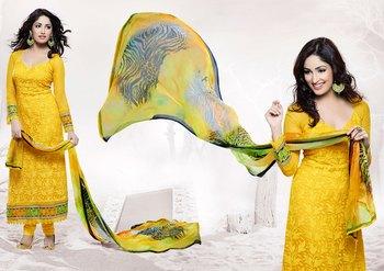 Hypnotex Yellow Pure Chiffon Anarkali Salwar Kameez
