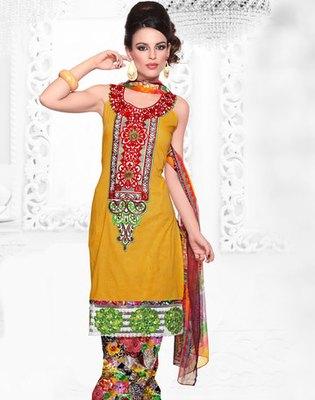Hypnotex Yellow Cotton Dress Materials