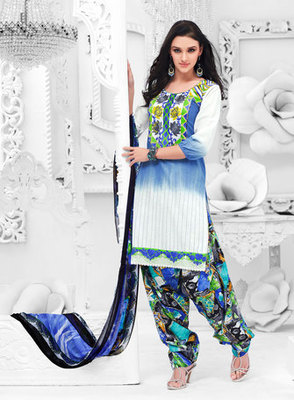 Hypnotex Off White and Blue Cotton Dress Materials