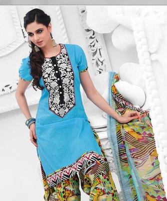 Hypnotex Blue Cotton Dress Materials