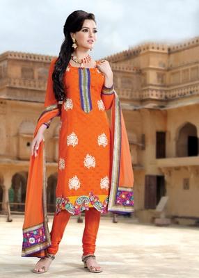 Hypnotex Orange Pure Banarasi Jacquard Dress materials
