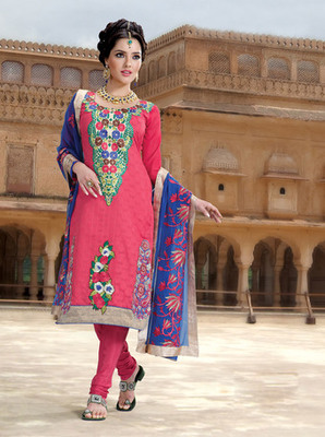 Hypnotex Pink Pure Banarasi Jacquard Dress materials