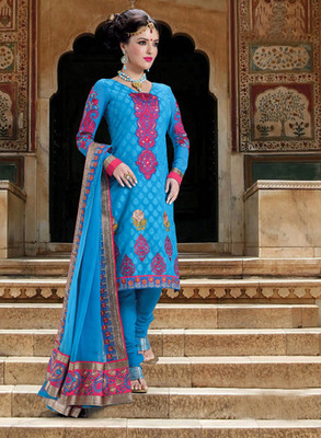 Hypnotex Blue Pure Banarasi Jacquard Dress materials