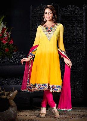 Hypnotex Yellow  Georgette Dress materials