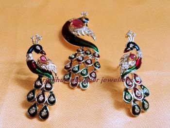 cz peacock pendent set