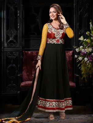 Hypnotex Black  Art Silk Georgette Dress materials