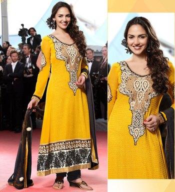 Hypnotex Yellow Georgette Semi Stitch Dress