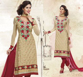 Hypnotex Cream Pure Georgette Dress Materials