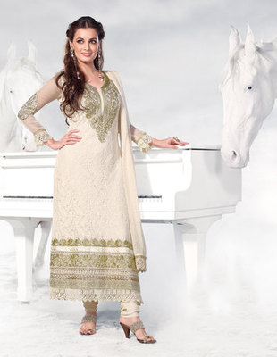 Hypnotex Cream Georgette Dress Materials