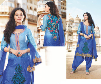 Hypnotex Blue Tussar Silk Dress Materials