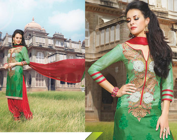 Hypnotex Green Tussar Silk Dress Materials