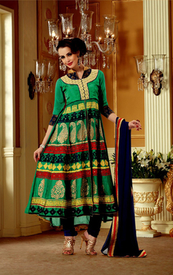Hypnotex Green Georgette Dress Materials